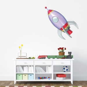 3D Space Rocket Printed Wall Decal
