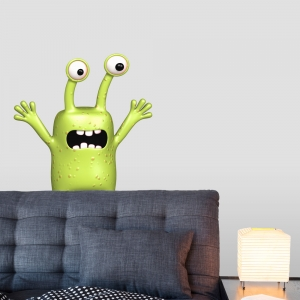 3D Silly Alien Printed Wall Decal