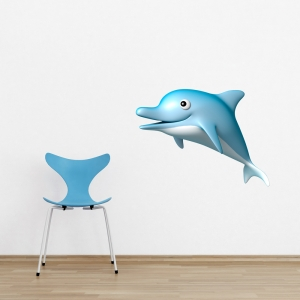 3D Dolphin Printed Wall Decal