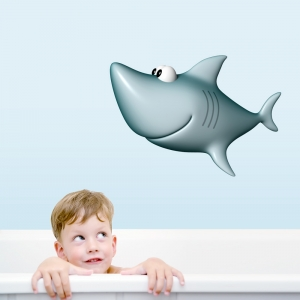 3D Grey Shark Printed Wall Decal