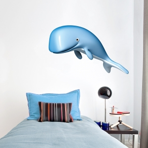 3D Blue Whale Printed Wall Decal