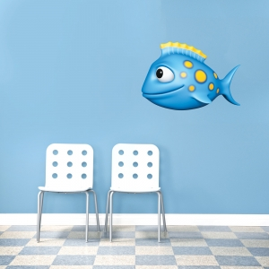 3D Blue Spotted Fish Printed Wall Decal