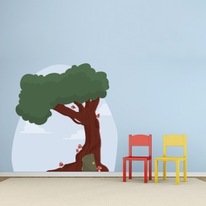 Mushroom Tree House Printed Wall Decal