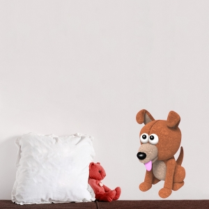3D Plush Puppy Printed Wall Decal