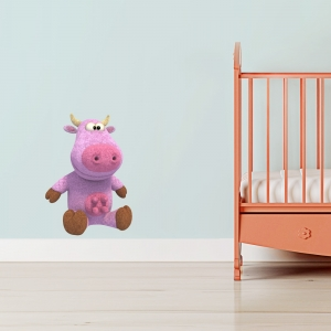 3D Plush Cow Printed Wall Decal