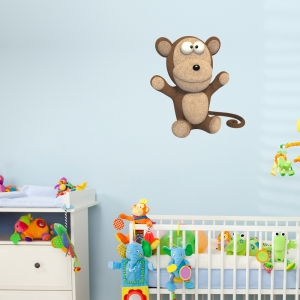 3D Plush Monkey Printed Wall Decal
