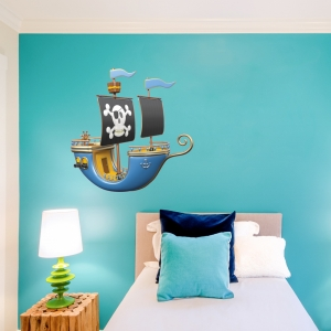 Pirate Printed Wall Decal Blue