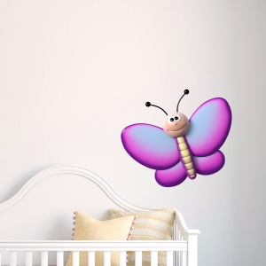 3D Purple Butterfly Printed Wall Decal