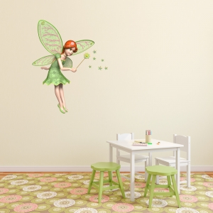 3D Green Fairy Wall Decal