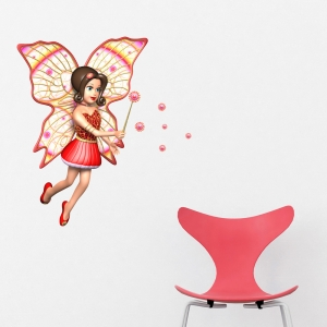3D Red Fairy Wall Decal