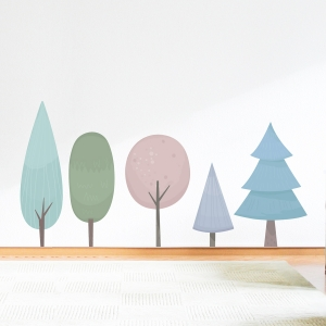 Pastel Trees Printed Wall Decal
