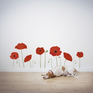 Poppy flower wall decal