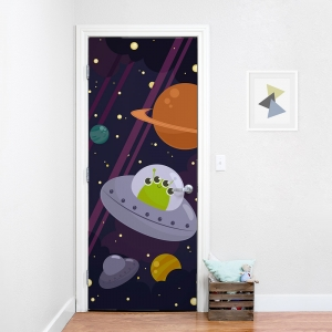 Silly Alien In Space Door Mural