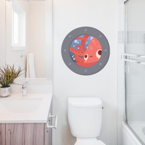 Squid Porthole Printed Wall Decals
