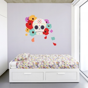 Sugar Skull Flowers Blue Wall Decal