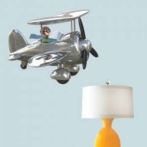 3D BiPlane Wall Decal Silver