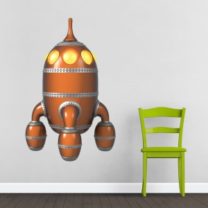 Steampunk Rocket Printed Decal