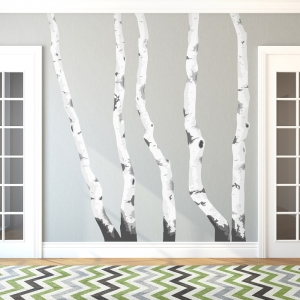 Nice Birch Trees Printed Wall Decal