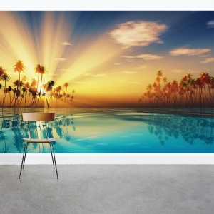 Tropical Sun Ray Wall Mural