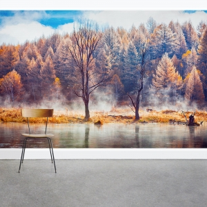 Fall Haze Lake Wall Mural