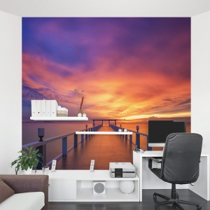 Sunset on the Pier Wall Mural
