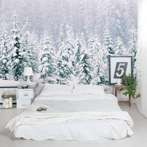 Snow Laced Forest Bedroom Wall Mural