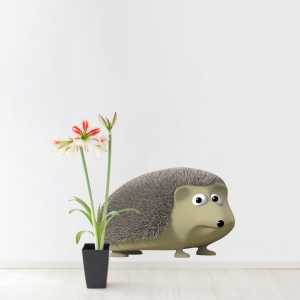 3D Hedgehog Printed Wall Decal