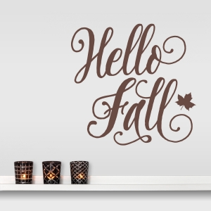 Hello Fall Wall Decal in Brown
