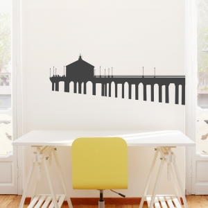 Ocean Pier Wall Decal - Black