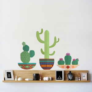 Southwest Potted Cacti Printed Wall Decal