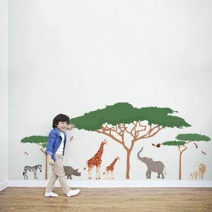 African Safari Animals Printed Wall Decal