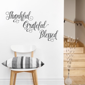 Thankful Grateful Blessed Wall Decal in Dark Grey