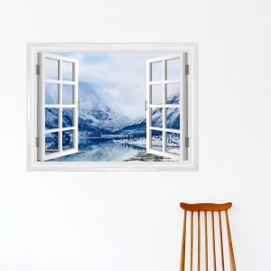 Winter Mountain Lake Window Mural