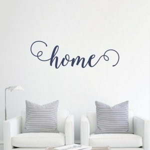 Home Script Wall Decal in Dark Blue