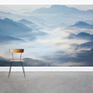 Fog Covered Mountain Wall Mural