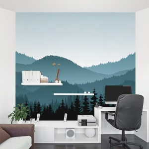 Illustrated Mountain Range Wall Mural