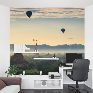 Balloons over Myanmar Wall Mural