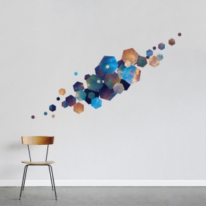 Hexagon Nebula Printed Wall Decal