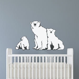 Polar Bear Family Printed Wall Decal