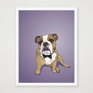 Bowtie Bulldog  Wall Art Print