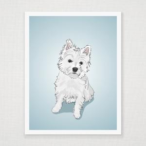 West Highland White Terrier  Wall Art Print