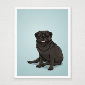 Black Pug Wall Art Print