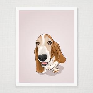 Basset Hound Wall Art Print