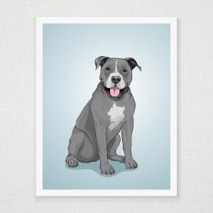 Blue American Pitbull Art Print