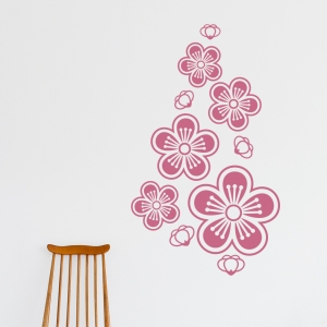 Lipstick Red - Cherry Blossoms Wall Decal