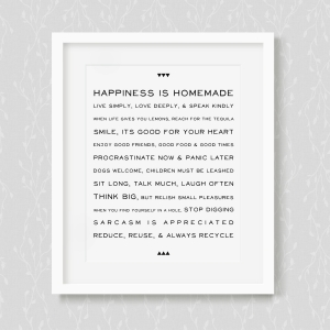 Happiness Is Homemade - House Rules - Art Print