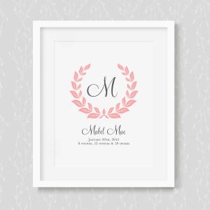 Personalized Baby Birth Wreath Art Print