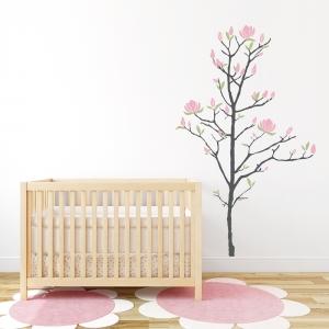 Dark Grey, Pink, Celedon - Young Magnolia Tree Wall Decal