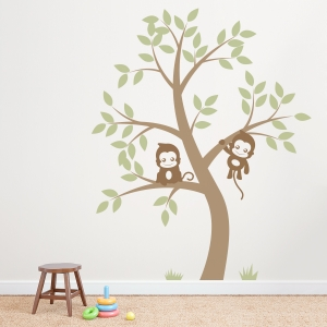 Double Monkey Tree Wall Decal