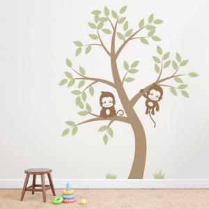 Double Monkey Tree Wall Decal